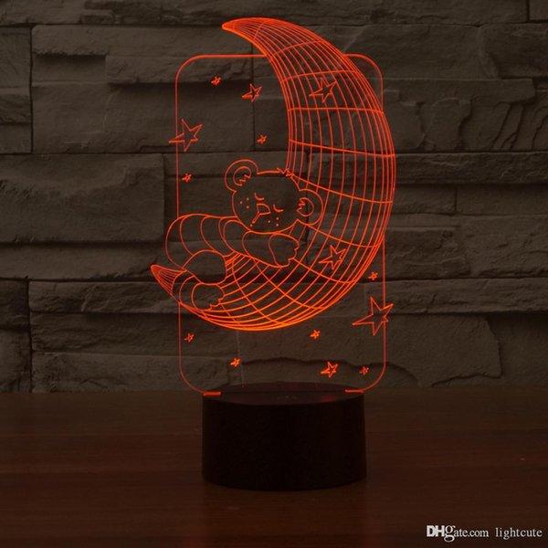 Ilusión Lunar con el oso 3D luz de la noche, táctil 7 cambiar el color, la lámpara de la decoración del hogar del muchacho del bebé LED chlid cumpleaños regalo de Navidad regalo de Navidad