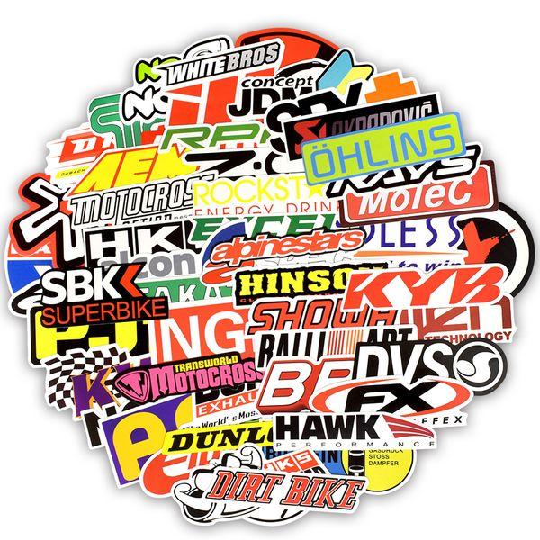 100 PCS Waterproof Racing Car Styling Stickers Toy for Kid Adult to DIY Rearview Mirror Motocross Racing Helmet Fuel Tank Cap Bicycle Handle