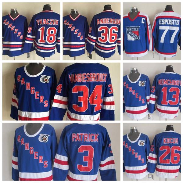 size 40 dbfe6 d8644 2019 Vintage New York Rangers Hockey Jersey Men 3 Patrick 34 John  Vanbiesbrouck 13 Nemchinov 26 Joe Kocur 77 Phil Esposito 36 Anderson 18  Tkaczuk From ...