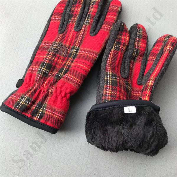 Marke The North Plaid Kaschmir Fleece-Handschuhe Unisex Winter warme Handschuhe Gesicht NF Fingerhandschuh im Freien windundurchlässigen Ski Glolve Fäustlinge C92003