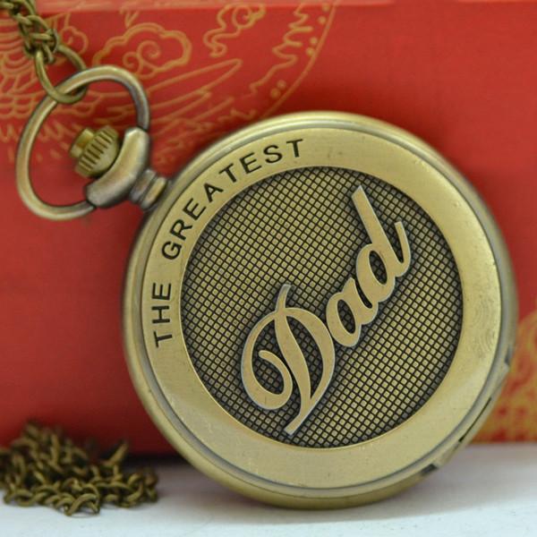Papá Reloj de bolsillo para hombres Vintage Bronze The Greatest Dad Design Cadena colgante Reloj de bolsillo Regalo Dad Drop Shipping