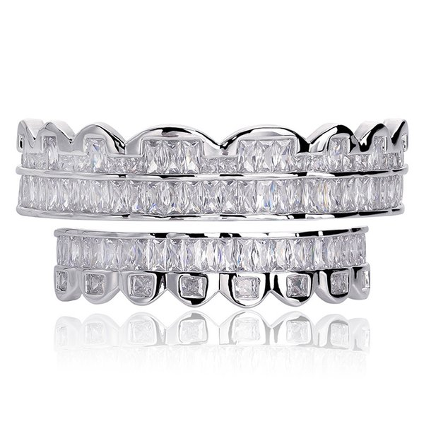 Cool Silver Plated Grillz Hiphop Jewelry Mens Iced Out Bling Cubic Zirconai Hip Hop Vampire Teeth Grillz