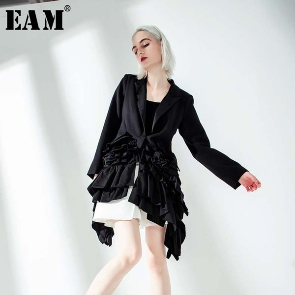 eam] 2019 new autumn winter lapel long sleeve black ruffles pleated stitch loose irregular jacket women coat fashion tide jq775, Black;brown