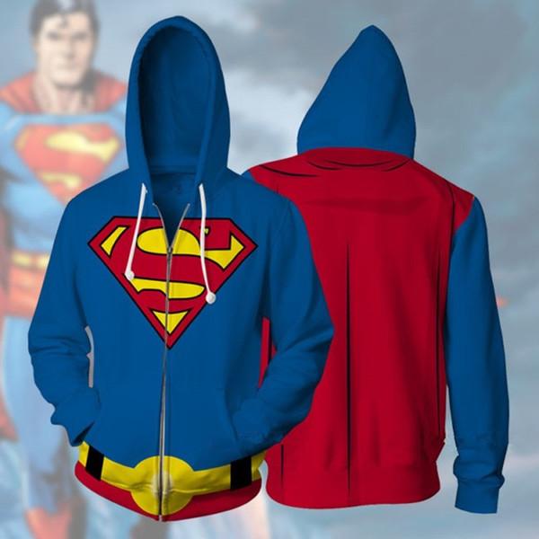 A nova fábrica de super-heróis de comércio exterior direto animação Superman camisola zipper camisa impressão 3D camisola com capuz