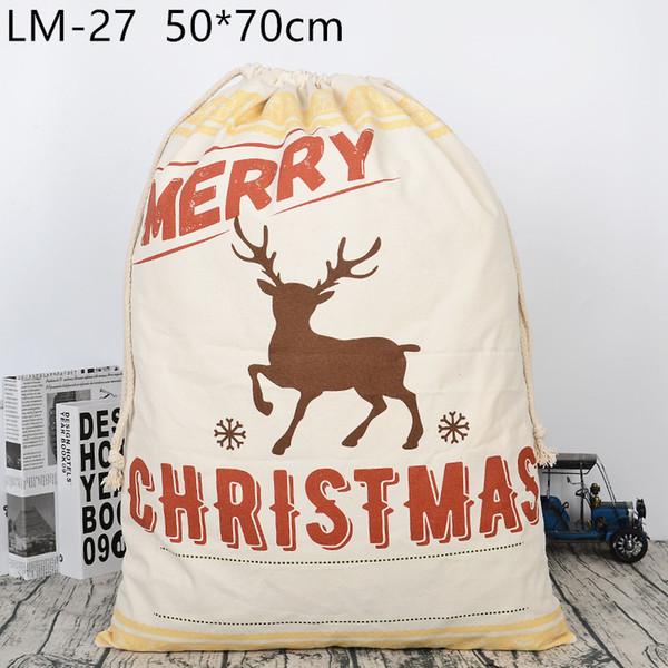 24 Styles Christmas Gift Bags Large Organic Heavy Canvas Bag Santa Sack Drawstring Bag With Reindeers Santa Claus Sack Bags for kids