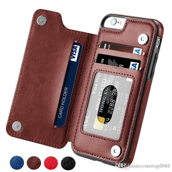 High-grade Business Men Women Magnetic Leather Wallet Case Card for iPhone X