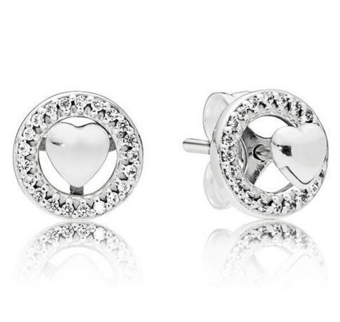 925 originale en argent sterling à deux en un coeur pour toujours avec le cristal Goujons boucles d'oreilles pour les femmes de mariage bijoux à la mode