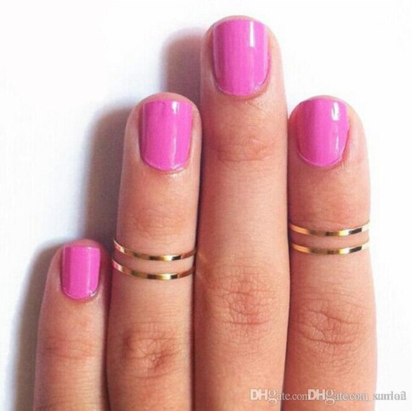 Women Band Midi Ring Urban Gold stack Plain Cute Above Knuckle Nail Rings Christmas Gift 1286 free shipping