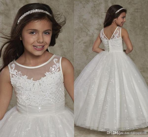 Flower Girl Dress Beaded Lace Hollow Back Gown For wedding Custom Made Floor Length Bow Lovely Baby Dresses