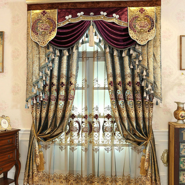 best selling Modern European-style Water-soluble Embroidery Curtains for Living Dining Room Bedroom.
