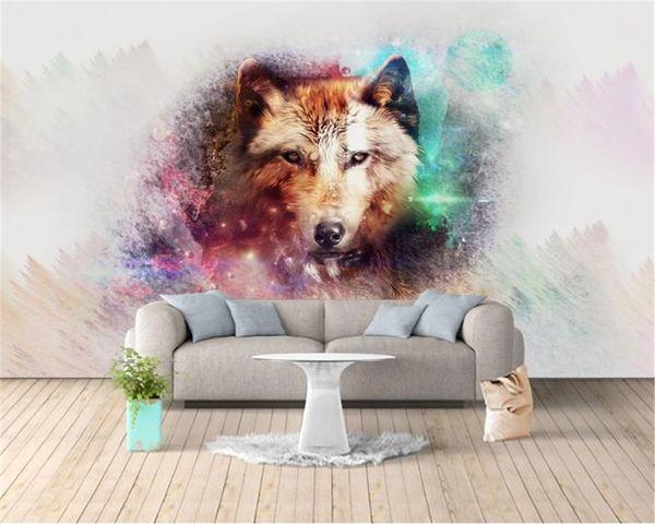 Photo Wallpaper HD 3D Furious Cabeça do lobo Home Decor Sala Quarto Wallcovering Wallpaper HD