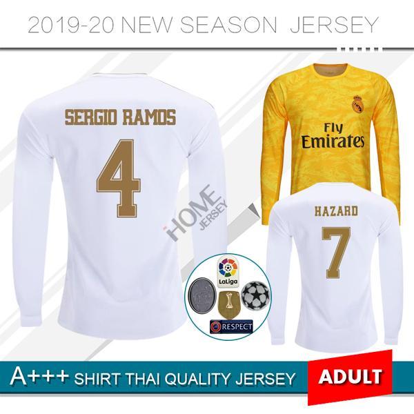 2019/20 Real Madrid manga comprida Camisola de futebol casa longe NOVO HAZARD camisa de futebol # 20 ASENSIO ISCO MARCELO madrid 19 20 uniformes de futebol