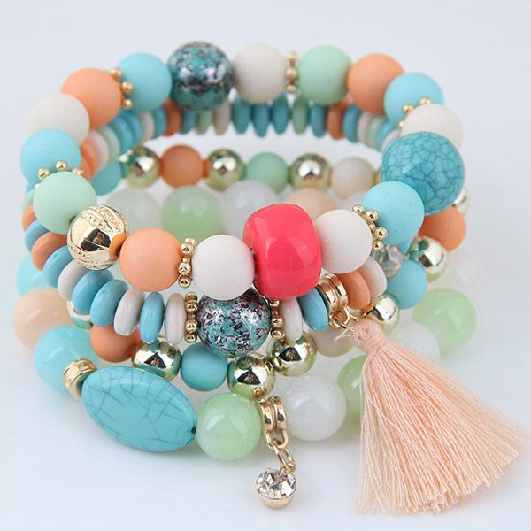 LEMOER 2017 Bohemian Multilayer Candy Color Beads Crystal Tassel Charm Bracelets & Bangles Elastic Stretch Women Jewelry Pulsera