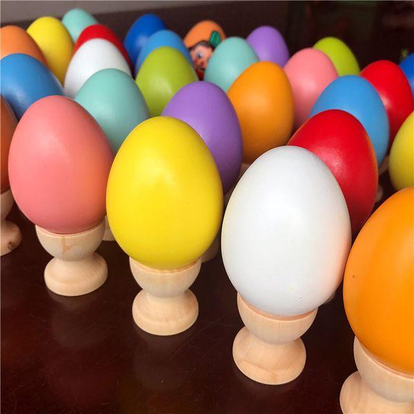 Huevos de Pascua de madera 4.45 * 6 cm Día de Pascua Juguetes de madera Pintura sólida Huevo para niños Regalos Día de los inocentes Juegos de novedad GGA1677