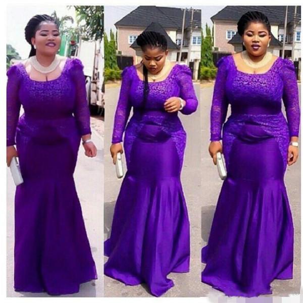 2018 roxo plus size africano estilo nigeriano rendas vestidos formais desgaste do partido barato sereia vestido de baile abendkleider