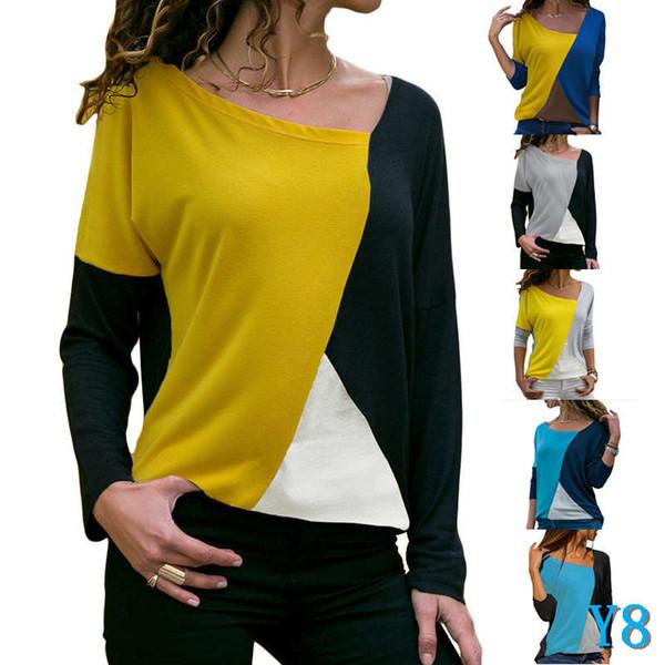 Moda Mujeres Blusas Manga larga camiseta para camisas para mujer con paneles de color Pullover Ropa de diseño Tops S-XX WholesaleY8
