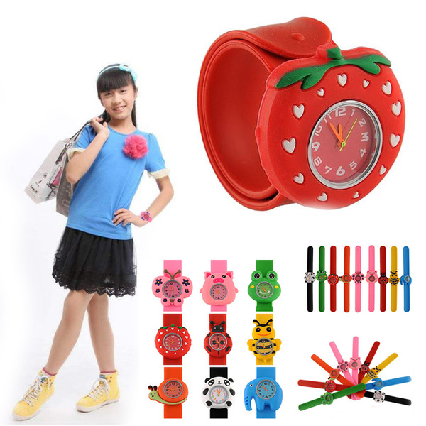 best selling Children Day Christmas gift kids children boys girls lovely cute cartoon animal snap slap watches fashion students birthday party watches