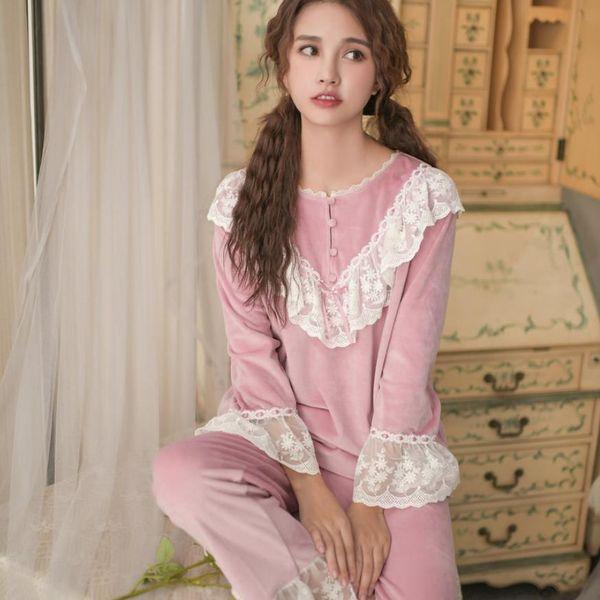 Pyjamas épais en flanelle à double face en dentelle style patchwork avec manches longues et pantalons 2 pièces ensembles gx1504