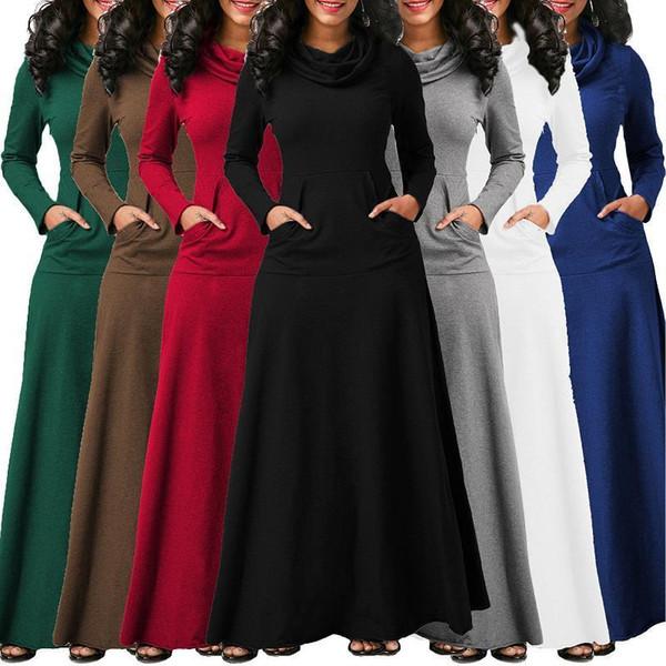 Kadınlar Sıcak Elbise Cep Ile Rahat Katı Uzun Kollu Vintage Maxi Elbise Robe Yay Boyun Uzun Zarif Elbise Vestidos Kadın Vücut Y19042401