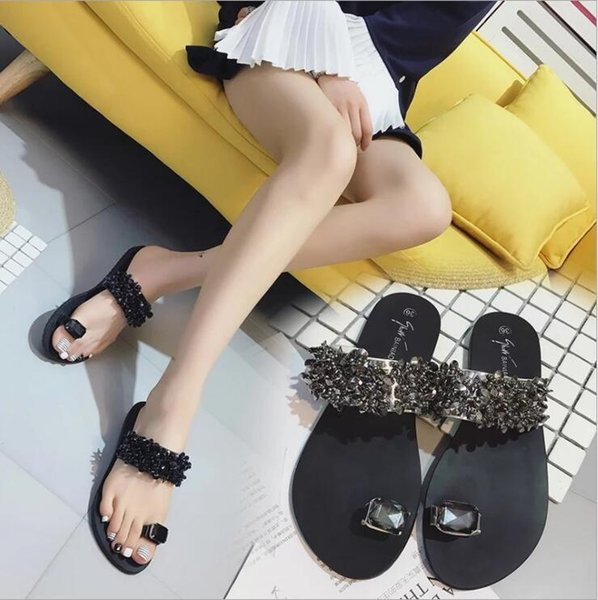 Fashion New Summer Outdoor Women Slippers Flats Casual Soft Comfortable Bling Bling Rhinestone Ring Set Toe Shoes Beach Flip Flops