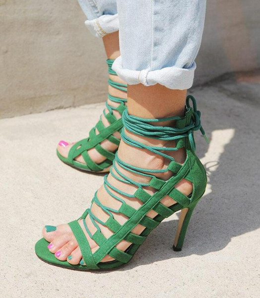 Hot Sale-Summer Green Black Gladiator Cut Outs Sandals Lace Up High Heels Women Strappy Sandles Open Toe Heels Party Shoes
