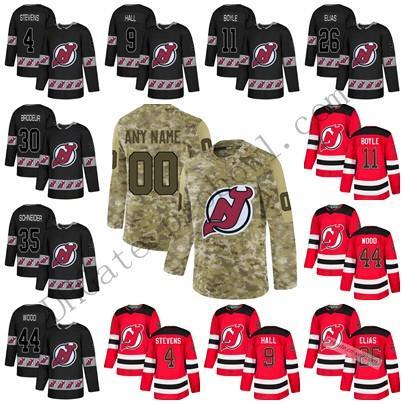 New Jersey Devils 9 Taylor Hall XS-6XL 13 Nico Hischier 30 Martin Brodeur 35 Cory Schneider Salute Drift Fashion LOGO Hockey Jersey