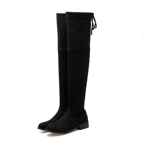 Women's shoes boots/ground suede/round head/flat heel/high 50cm boots/34-44 large size/zipper/elastic lace sleeve/DL&627-1
