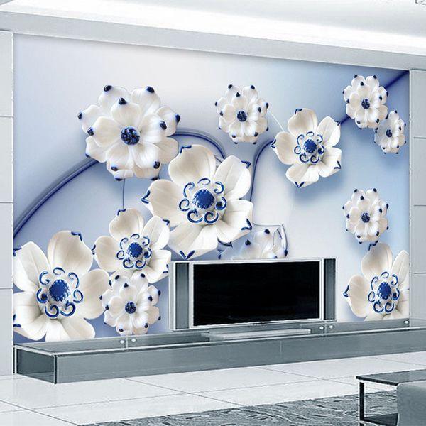 Personalizzato 3D stereoscopico blu Lotus Jade Carving TV sfondo muro murale Camera da letto carta da parati disegni Home Decor murales carta da parati