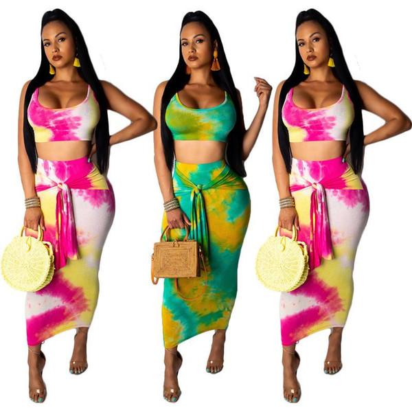 Женская краска для галстука из двух частей Летняя майка без рукавов Crop Top + Длинная юбка-карандаш Наборы Bodycon 2 шт. Бесплатная доставка