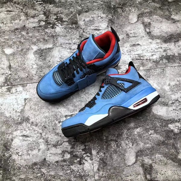 2019 Top authentique 4 x Travis Scott Cactus Jack 4S IV Houston Oliers Université Bleu Varsity Rouge Hommes Chaussures de basket-308497-406