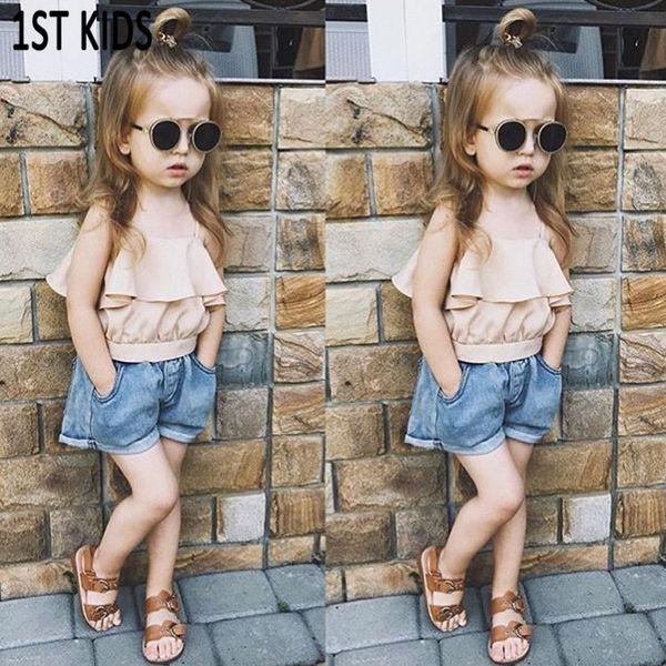 Summer Girls Clothing Set New Fashion Sling Tops Chemises + Pantalon court en Jean 2 Pcs Costume Enfants Vêtements DB487