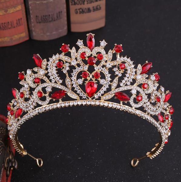 Queen Crown Pageant Tiara Wedding Bridal Crystal Rhinestone Diadema Rojo Verde Accesorios para el cabello Joyería Princesa Adorno Tocado Wear