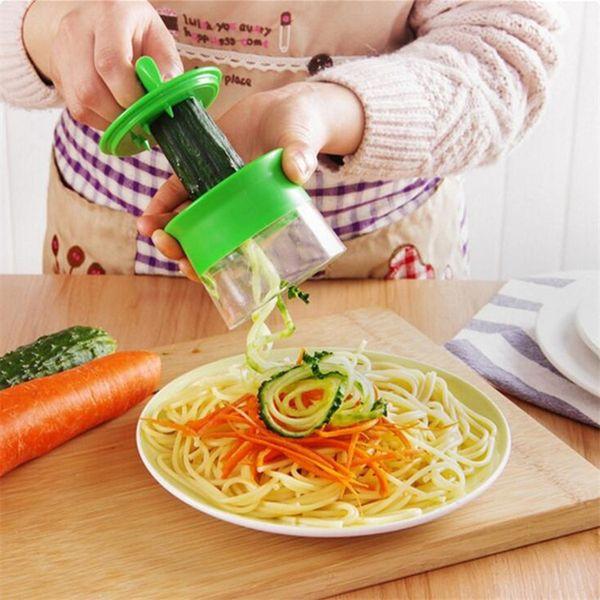 Verdura Slicer Portátil Peeler de mano de acero inoxidable Slicer espiral para patatas cortador de espaguetis zanahoria rallador herramientas de cocina FFA1858