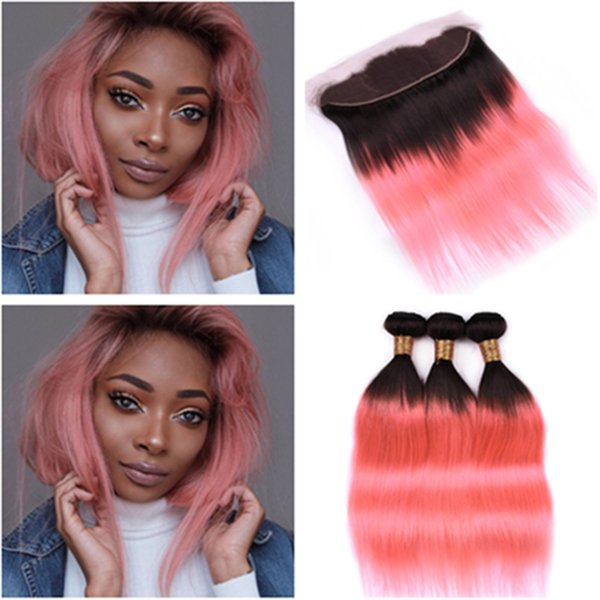 Black to Rose Gold Ombre Straight Human Hair Bundles with Frontal #1B/Pink Ombre Malaysian Hair 3Bundles with 13x4 Lace Frontal Closure