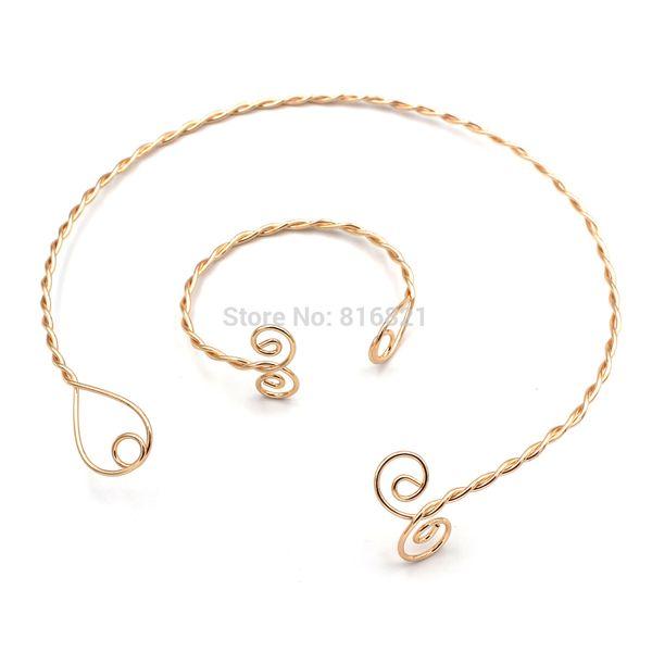 Fashion Punk Womens Wire Wired Twisted Necklace Choker Open Cuff Bracelet Bangle Iron Metal Jewelry Set Golden tone