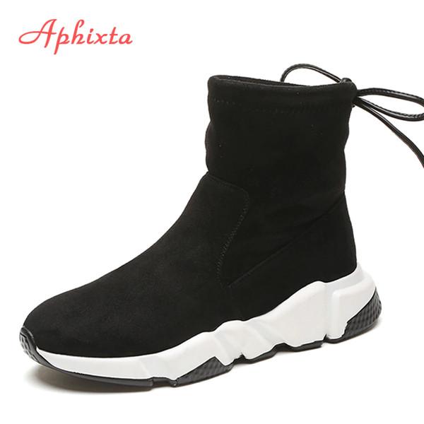 Aphixta Shoes Women Botines con aumento de altura Zapatos con punta estrecha Zapatillas sin cordones para mujer Mujer Invierno Nieve Vaca Suede Zapatos de mujer