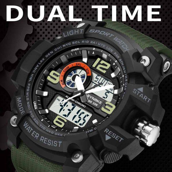 Men Sports Clock Digital LED Waterproof Wrist Watch Luxury Men Analog Digital Army Elegant Mens Watch Electronic CC