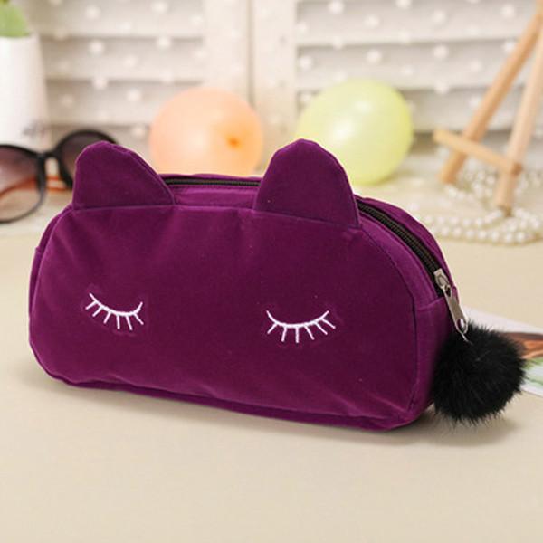 Flanella Cosmetic Bag portatile trucco del gatto del fumetto del sacchetto cosmetico di corsa sacchetto della moneta di immagazzinaggio Caso