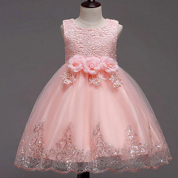 Cheap Sequin girl Pageant Dresses 2019 Ankle Length Organza Flower Girl Dresses For Garden Wedding Navy Blue little girls pageant dresses