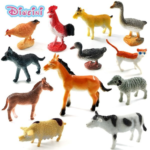 Mini horse cat dog cow pig sheep Chicken duck Simulation Farm animal model doll pvc action figure hot set toys for children gift