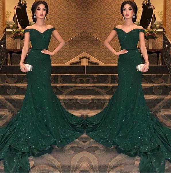 2019 Elegante Árabe Verde Escuro Lantejoulas Sereia Vestidos de Noite Fora Do Ombro Ruched Até O Chão Vestidos de Noite Do Partido Do Baile de Finalistas Vestido BC0792