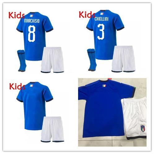 Kinder Kit Italien Heim Jugend Jersey 2019 2020 De Rossi Bonucci Verratti Chiellini INSIGNE Belotti Trikots 2018 Fußball-Uniform