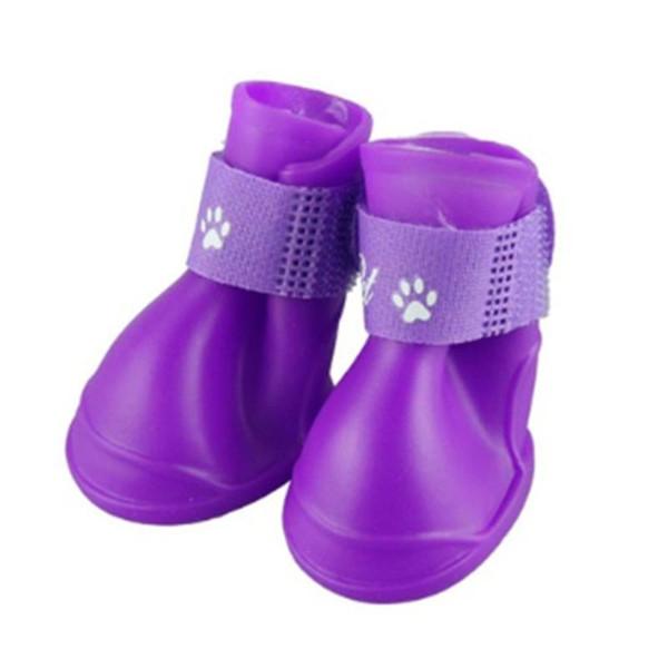 Pet Sarf Malzemesi 1 Çifti / SET Su geçirmez Kaymaz Evcil Köpekler Ayakkabı Nefes PVC Katı Renk Yağmur Botları Ayakkabı
