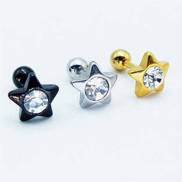 30pairs / bulk acciaio inossidabile orecchio stude strass orecchio orecchio chiodo a forma di orecchini di moda monili penetranti del corpo