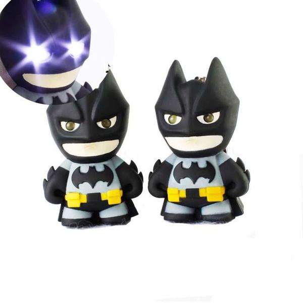 Batman Keychain Batman Action Figure Toys Light LED Key Chain Key Rings Pendants Bag Hangs fashion Jewelry 170866