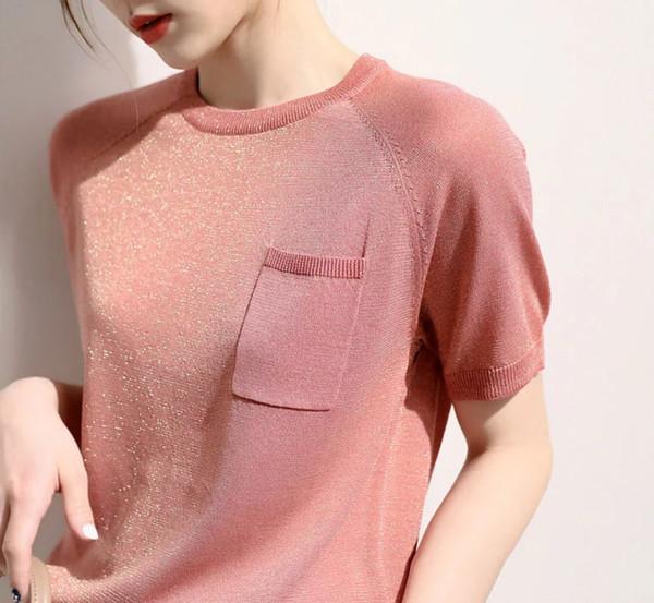 2019 summer new high-end OL Turtleneck short-sleeved elegant round neck loose sweater solid color raglan T-shirt