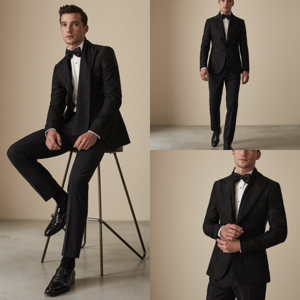 Teste Padrão Floral preto Groomsmen Casamento Smoking 2019 Pico de Lapela Dois Homens Botão Calças Ternos Bonito 2 Peças Formais Melhores Homens Blazer