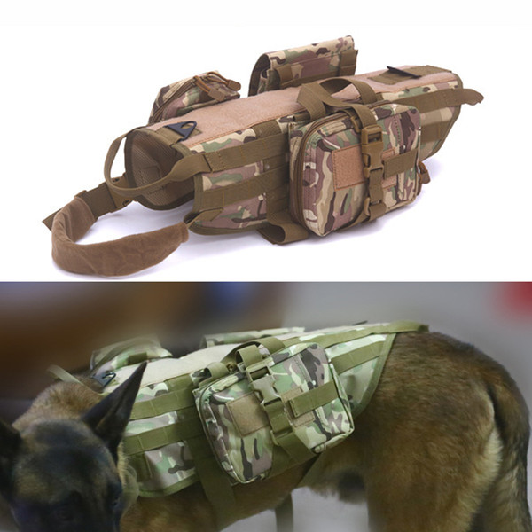 Tactical Dog Vest for Walking Hiking Hunting Waterproof MOLLE Training Harness for Service Dog