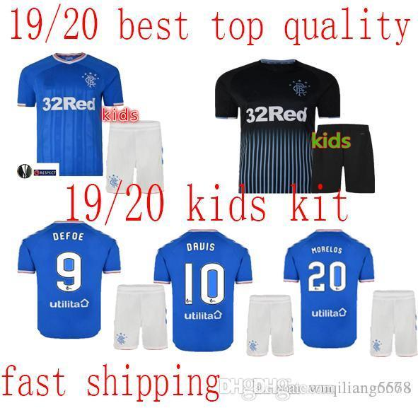 2019 2020 Kinder Glasgow Rangers Kind Fußball Jersey Morelos Windass Dorrans Candeias Tavernier Pena Rangers 19-20 Home Fußball-Hemd