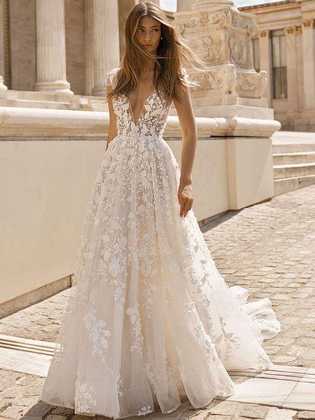 Discount 3d Flower Lace Wedding Dresses A Line Deep V Neck Cap